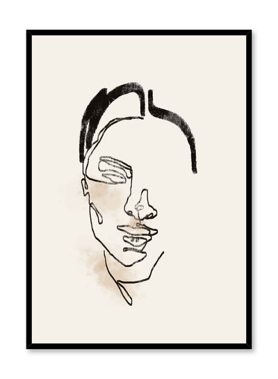Blushing Beauty is a line art illustration of half a beautiful woman's face while she is blushing by Opposite Wall.
