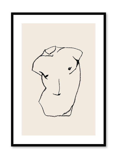 Statuesque is a line art illustration of a chiseled man's chest resembling a statue by Opposite Wall.