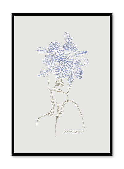 Flourishing is a line art illustration of a person wearing a blue flower crown covering half the face by Opposite Wall.