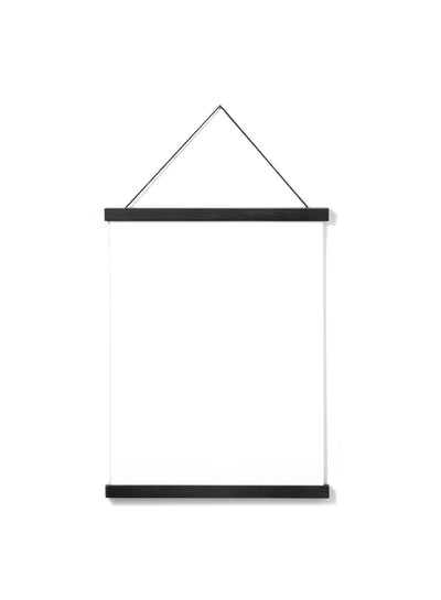 Scandinavian black oak poster wall hanger by Opposite Wall - Front of poster hanger - Size 12 inches