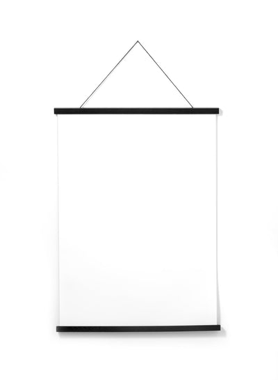 Scandinavian black oak poster wall hanger by Opposite Wall - Front of the poster hanger - Size 20 inches