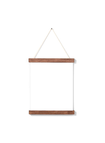 Scandinavian dark oak poster wall hanger by Opposite Wall - Front of the poster hanger - Size 8 inches
