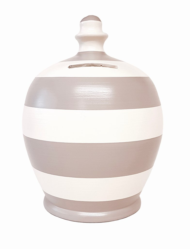 Terramundi Money Pot (White and Grey Stripe)