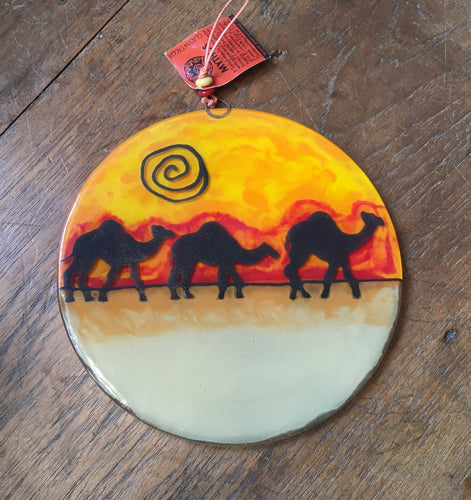 Camel Fused Glass Ornament Large