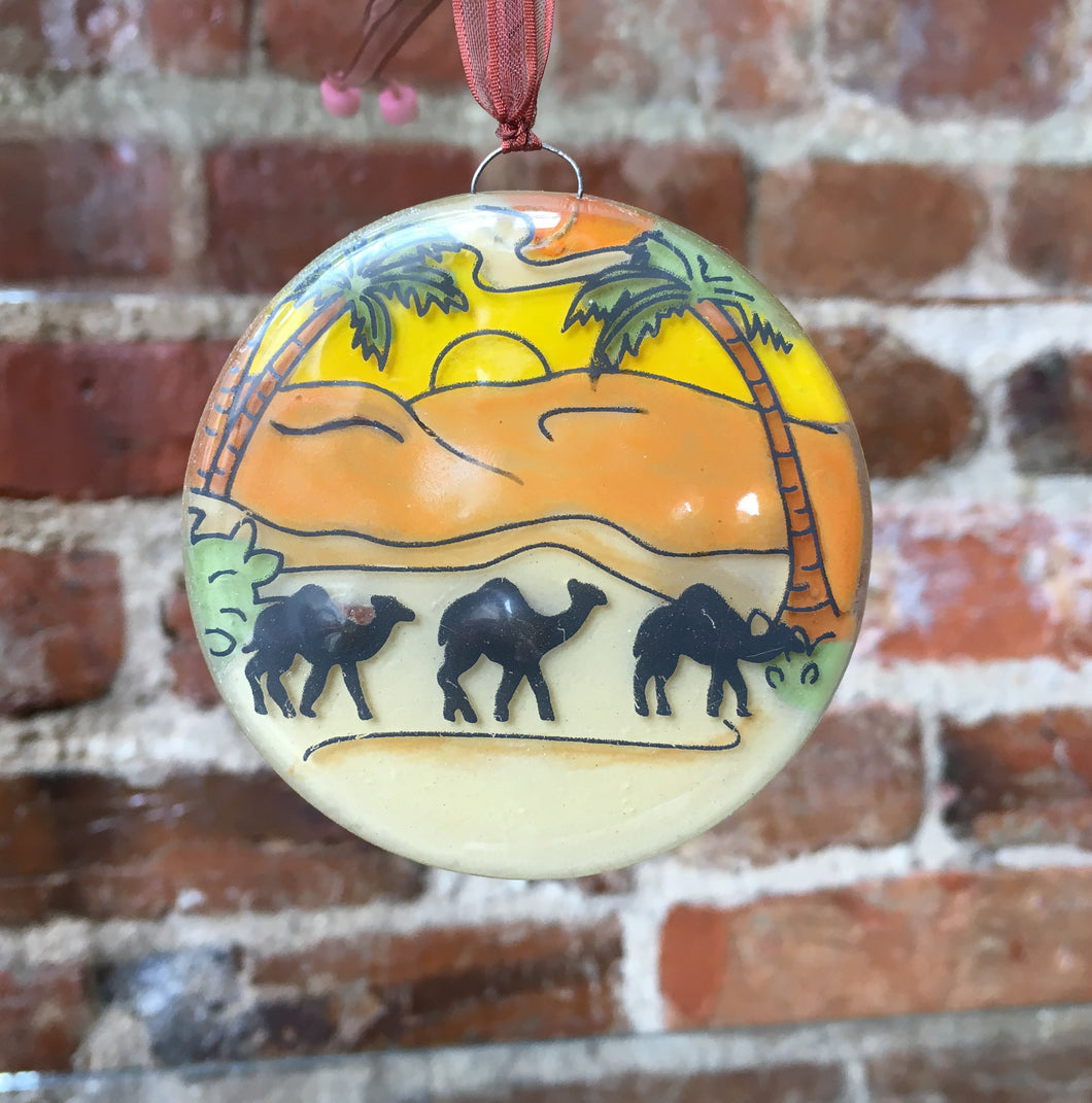Camel Fused Glass Ornament Small