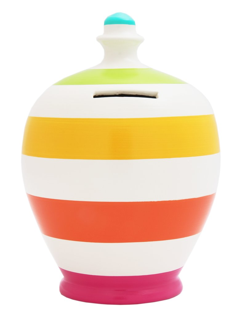 Money Pot (white with pink/orange/yellow/lime & pale blue stripes)