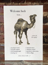 Camel Greeting Card Welcome Back