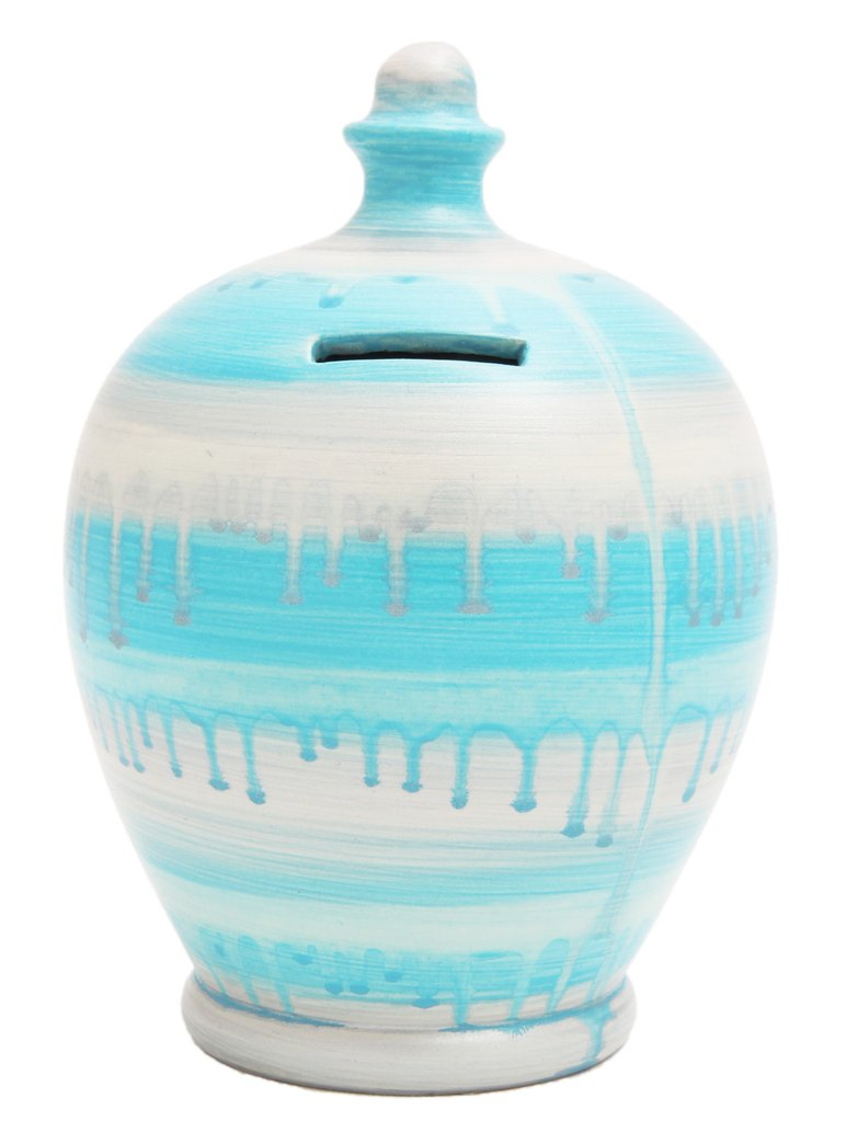 Terramundi Money Pot (Glaze Pale Blue and Silver)
