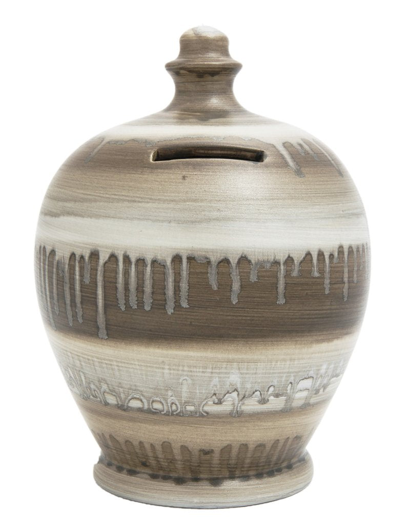 Terramundi Money Pot (Slick - White, Light Brown, Grey & Silver)