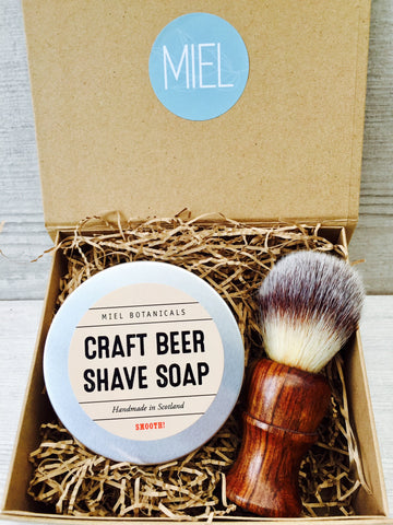 Craft Beer Shave Soap & Brush Gift Box - Miel Botanicals