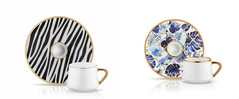 zebra pattern and blue porcelain coffee cups