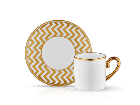 Mat Gold Zigzag Coffee Cup