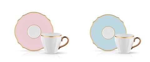 baby pink and baby blue porcelain coffee cups