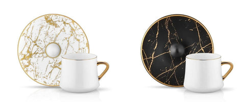 porcelain coffee cups with marble pattern