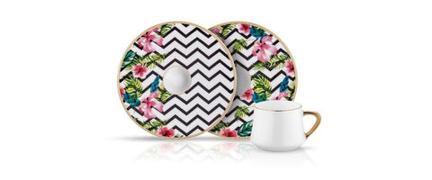 pink and tropics porcelain coffee cups