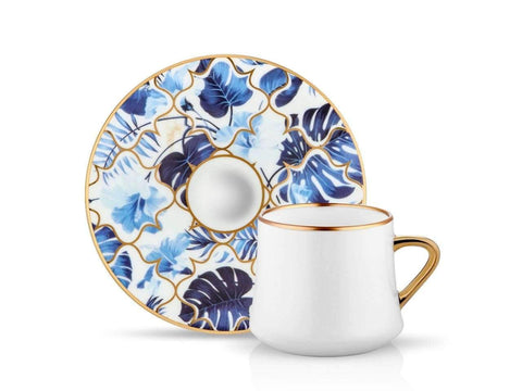 Coffee cups with blue pattern