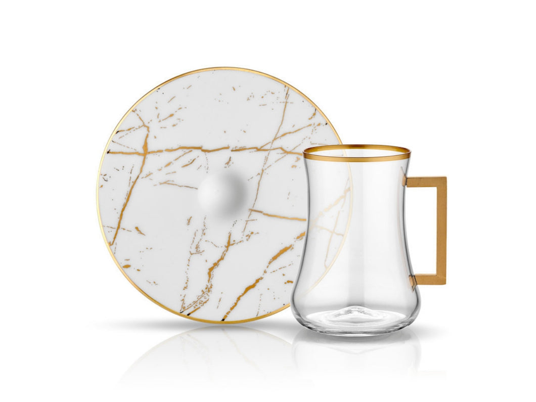 Dervish Marble Handle Tea Glass and Saucer - White & Shiny Gold-Tea Sets-K-United