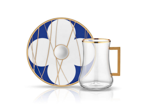 Dervish Bonita Cobalt Handle Tea Glass and Saucer-Tea Sets-K-United