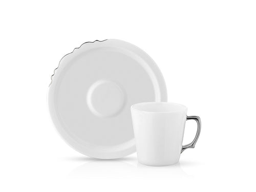 Eser-i Istanbul Cup and Saucer - Platinum - 220 cc-Cups, Saucers & Mugs-K-United