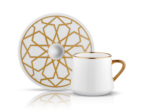 Sufi Star Cup and Saucer - Mat Gold - 230 cc-Cups, Saucers & Mugs-K-United