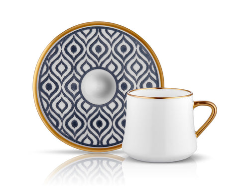Sufi Ikat Cup and Saucer - Anthracite Mat Gold - 230 cc-Cups, Saucers & Mugs-K-United