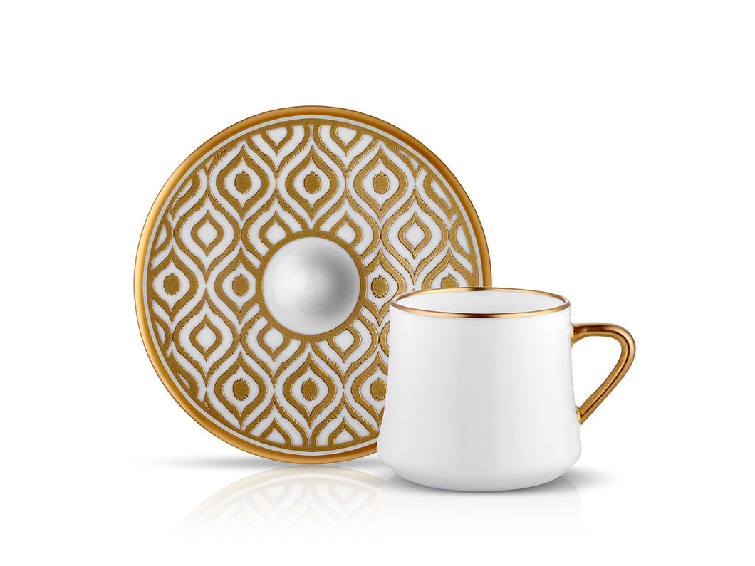 Sufi Ikat Cup and Saucer - Mat Gold - 230 cc-Cups, Saucers & Mugs-K-United