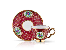 Lisa Coffee Cup Set - Royal Burgundy - 2 Cups, 2 Saucers, 2 Small Glasses-Cups, Saucers & Mugs-K-United