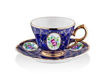 Lisa Coffee Cup Set - Royal Cobalt - 2 Cups, 2 Saucers, 2 Small Glasses-Cups, Saucers & Mugs-K-United