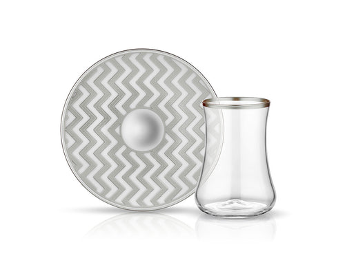 Dervish Zigzag Tea Glass and Saucer - Mat Platinum-Tea Sets-K-United
