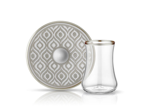 Dervish Ikat Tea Glass and Saucer - Mat Platinum-Tea Sets-K-United