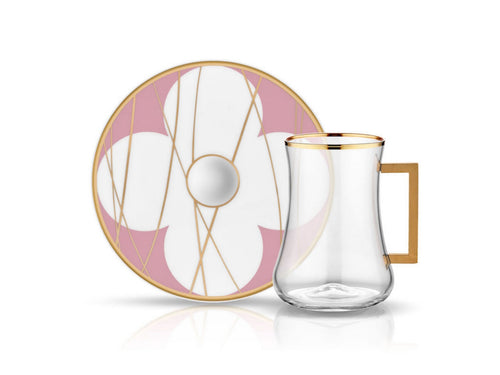 Dervish Bonita Pink Handle Tea Glass and Saucer-Tea Sets-K-United