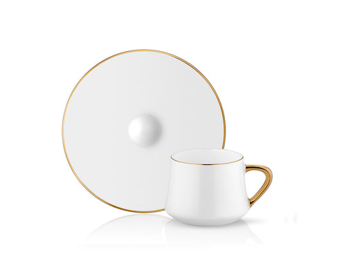 Sufi Coffee Cup and Saucer - Gold Rim - 90 cc-Cups, Saucers & Mugs-K-United