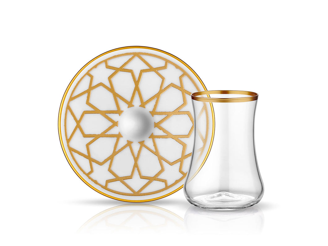 Dervish Star Tea Glass and Saucer - Mat Gold-Tea Sets-K-United