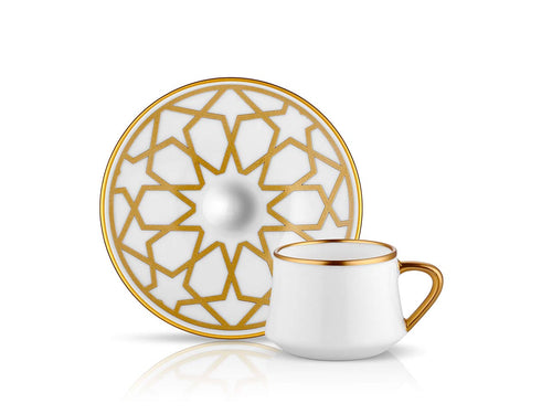 Sufi Star Coffee Cup and Saucer - Mat Gold - 90 cc-Cups, Saucers & Mugs-K-United