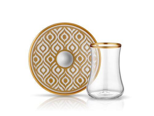 Dervish Ikat Tea Glass and Saucer - Mat Gold-Tea Sets-K-United