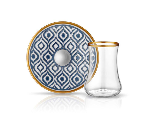 Dervish Ikat Tea Glass and Saucer - Anthracite Mat Gold-Tea Sets-K-United