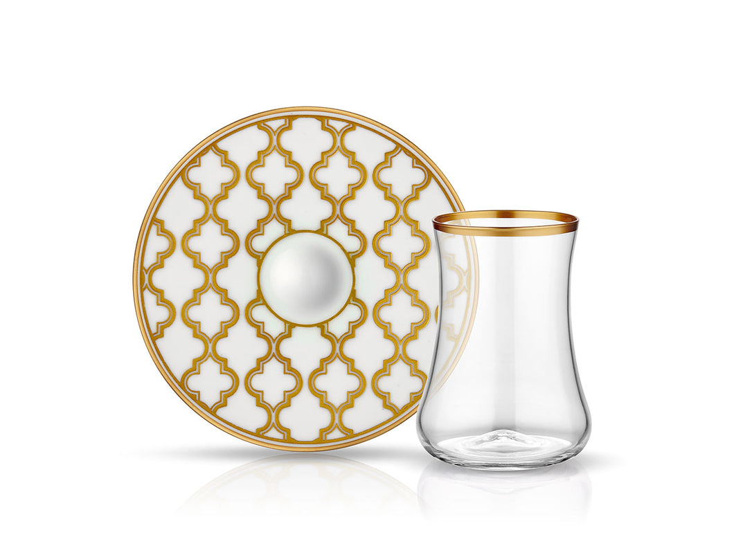 Dervish Vienna Tea Glass and Saucer - Mat Gold-Tea Sets-K-United