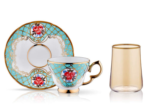 Lisa Coffee Cup Set - Spring Turquoise - 2 Cups, 2 Saucers, 2 Small Glasses-Cups, Saucers & Mugs-K-United