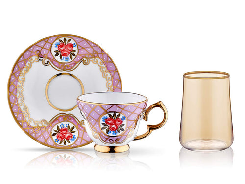 Lisa Coffee Cup Set - Spring Pink - 2 Cups, 2 Saucers, 2 Small Glasses