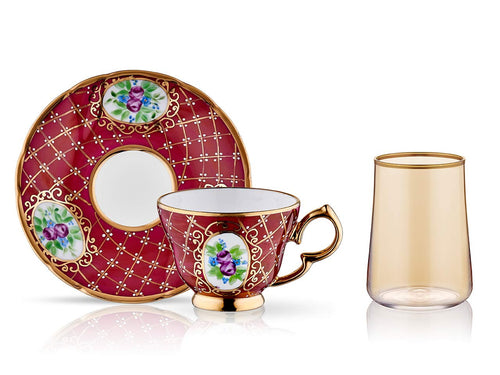 Lisa Coffee Cup Set - Royal Burgundy - 2 Cups, 2 Saucers, 2 Small Glasses