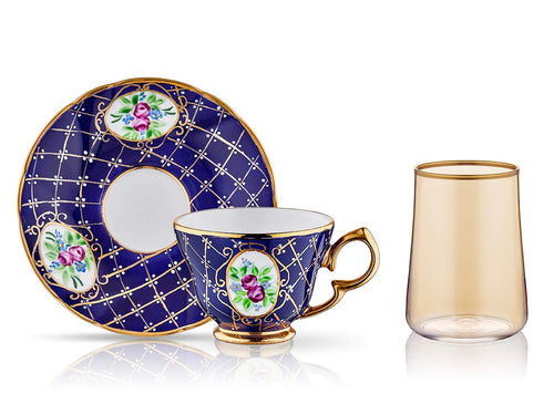 Lisa Coffee Cup Set - Royal Cobalt - 2 Cups, 2 Saucers, 2 Small Glasses