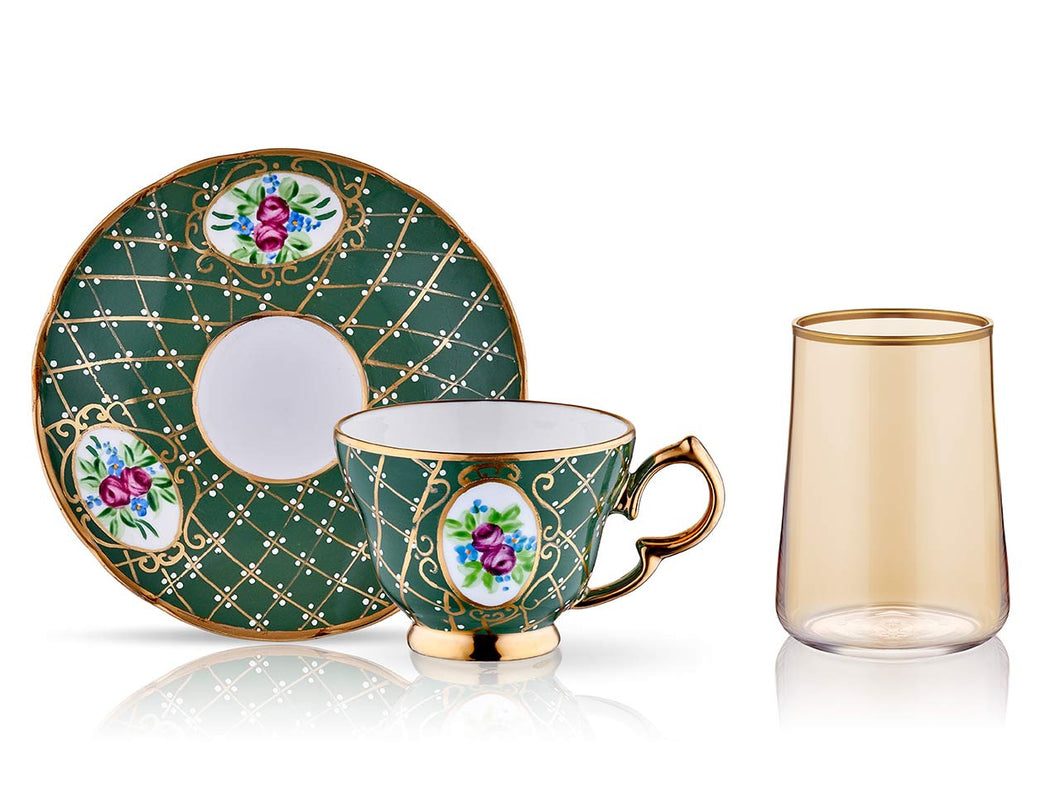 Lisa Coffee Cup Set - Royal Green - 2 Cups, 2 Saucers, 2 Small Glasses-Cups, Saucers & Mugs-K-United