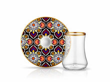Dervish Terra Tea Glass and Saucer - Gold Rim-Tea Sets-K-United