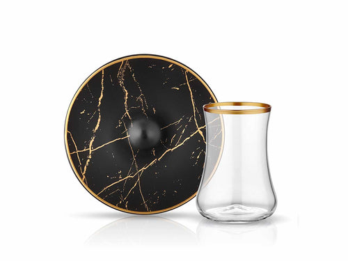 Dervish Marble Tea Glass and Saucer - Black & Mat Gold-Tea Sets-K-United