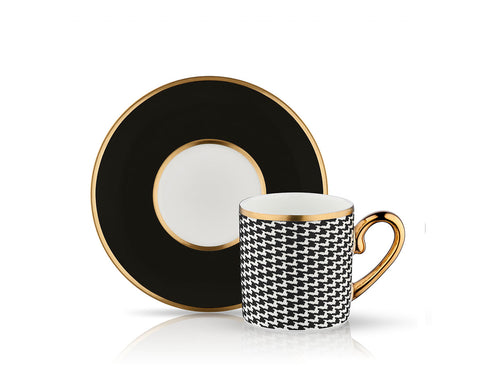 Eva Sonia Coffee Cup and Saucer - Mat Black - 90 cc-Cups, Saucers & Mugs-K-United