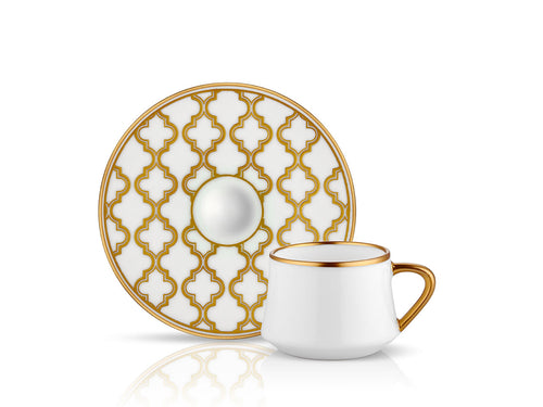 Sufi Vienna Coffee Cup and Saucer - Mat Gold - 90 cc-Cups, Saucers & Mugs-K-United