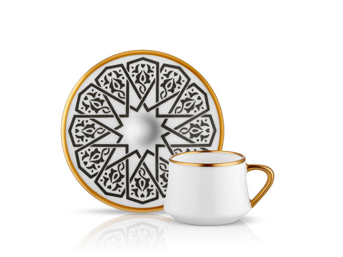 Sufi Seljuq Coffee Cup and Saucer - Mat Black - 90 cc-Cups, Saucers & Mugs-K-United