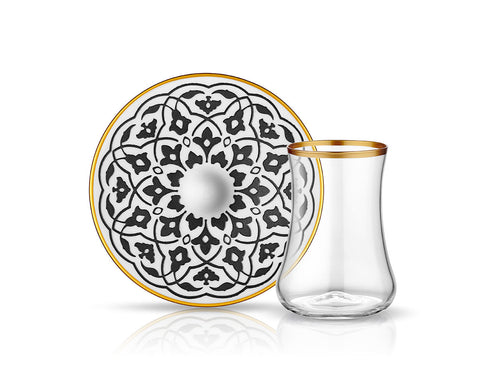 Dervish Tulip Tea Glass and Saucer - Mat Black-Tea Sets-K-United