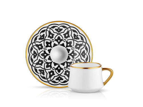 Sufi Tulip Coffee Cup and Saucer - Mat Black - 90 cc-Cups, Saucers & Mugs-K-United