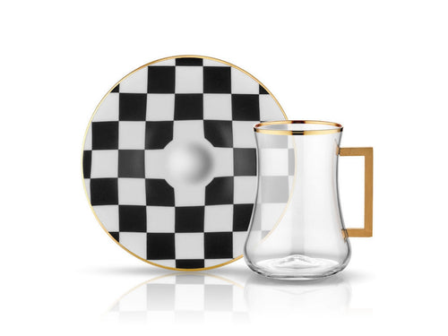 Dervish Checkerboard Handle Tea Glass and Saucer-Tea Sets-K-United